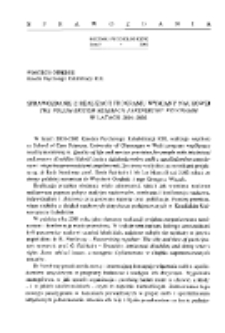 Sprawozdanie z realizacji programu wymiany naukowej The Polish-British Research Partnership Programm w latach 2001-2002.