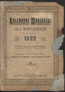 Maryański Kalendarz dla Wszystkich na Rok 1922 Ozdobiony Licznymi Obrazkami.