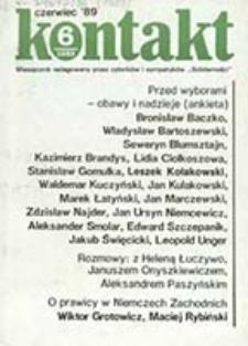 Kontakt : miesięcznik redagowany przez członków i współpracowników NSZZ Solidarność / réd. en chef Bronisław Wildstein