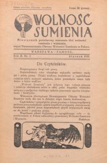 Wolność Sumienia. R. 2, Nr 1 (1935)
