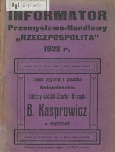 """Informator Przemysłowo-Handlowy """"Rzeczpospolita"""" 1922."""
