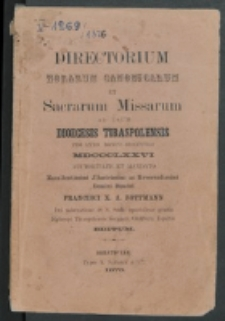 Directorium Horarum Canonicarum et Sacrarum Missarum ad usum Dioecesis Tiraspolensis pro Anno Domini . 1876