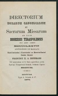 Directorium Horarum Canonicarum et Sacrarum Missarum ad usum Dioecesis Tiraspolensis pro Anno Domini. 1877