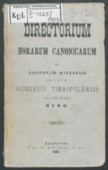 Directorium Horarum Canonicarum et Sacrarum Missarum ad usum Dioecesis Tiraspolensis pro Anno Domini. 1903