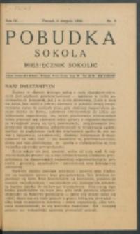 Pobudka Sokola : organ Dzielnicy Wielkopolskiej Związku Towarzystw Gimn. Sokół : miesięcznik Sokolic. R. 4, Nr 8 (1936)