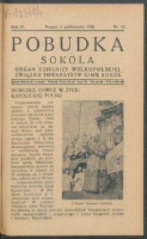 Pobudka Sokola : organ Dzielnicy Wielkopolskiej Związku Towarzystw Gimn. Sokół : miesięcznik Sokolic. R. 4, Nr 10 (1936)