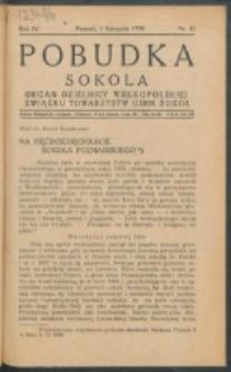 Pobudka Sokola : organ Dzielnicy Wielkopolskiej Związku Towarzystw Gimn. Sokół : miesięcznik Sokolic. R. 4, Nr 11 (1936)