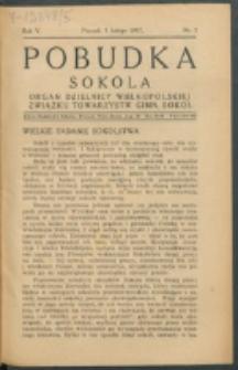 Pobudka Sokola : organ Dzielnicy Wielkopolskiej Związku Towarzystw Gimn. Sokół : miesięcznik Sokolic. R. 5, Nr 2 (1937)