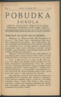 Pobudka Sokola : organ Dzielnicy Wielkopolskiej Związku Towarzystw Gimn. Sokół : miesięcznik Sokolic. R. 5, Nr 4 (1937)