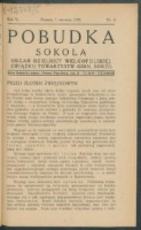 Pobudka Sokola : organ Dzielnicy Wielkopolskiej Związku Towarzystw Gimn. Sokół : miesięcznik Sokolic. R. 5, Nr 6 (1937)