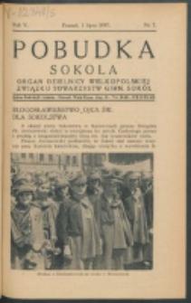 Pobudka Sokola : organ Dzielnicy Wielkopolskiej Związku Towarzystw Gimn. Sokół : miesięcznik Sokolic. R. 5, Nr 7 (1937)