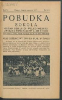 Pobudka Sokola : organ Dzielnicy Wielkopolskiej Związku Towarzystw Gimn. Sokół : miesięcznik Sokolic. R. 5, Nr 8/9 (1937)