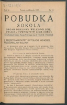 Pobudka Sokola : organ Dzielnicy Wielkopolskiej Związku Towarzystw Gimn. Sokół : miesięcznik Sokolic. R. 5, Nr 10 (1937)