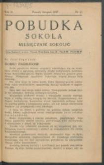 Pobudka Sokola : organ Dzielnicy Wielkopolskiej Związku Towarzystw Gimn. Sokół : miesięcznik Sokolic. R. 5, Nr 11 (1937)