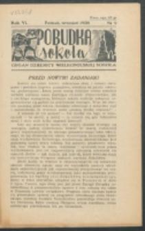 Pobudka Sokola : organ Dzielnicy Wielkopolskiej Związku Towarzystw Gimn. Sokół : miesięcznik Sokolic. R. 6, Nr 9 (1938)