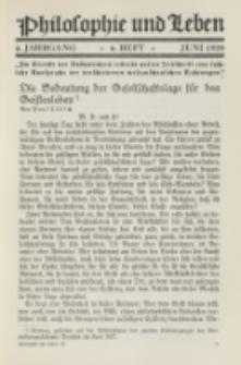 Philosophie und Leben. Jg. 4, H. 6 (1928)