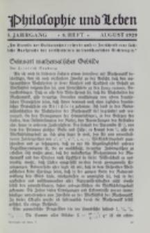 Philosophie und Leben. Jg. 5, H. 8 (1929)