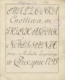 Małżonka cnotliwa we trzech aktach napisana przez Michała Zagórskiego w Pruszynie 1795