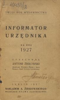 Informator Urzędnika : na rok 1927