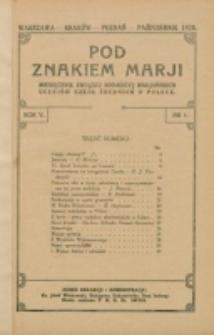 Pod Znakiem Marji. R. 5, nr 1 (1924)