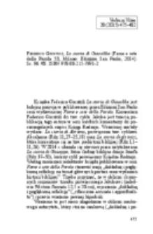 Napora, Krzysztof – Recenzja : Federico Giuntoli, La storia di Giacobbe (Fame e setedella Parola 53; Milano: Edizioni San Paolo, 2014). ss. 96. €8. ISBN 978-88-215-7991-2.