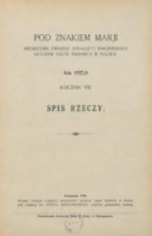 Pod Znakiem Marji. R. 8 (1927/1928). Spis rzeczy