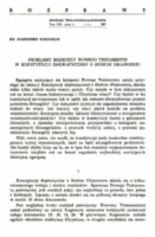 Problemy egzegezy Nowego Testamentuw konstytucji dogmatycznej o Boskim Objawieniu.