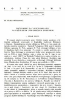 Pięćdziesiąt lat Sekcji Biblijnej na Katolickim Uniwersytecie Lubelskim.