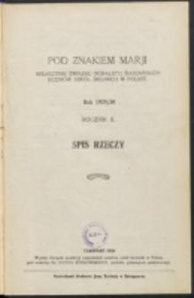 Pod Znakiem Marji. R. 10 (1929/1930). Spis rzeczy