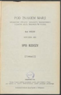 Pod Znakiem Marji. R. 13 (1932/1933). Spis rzeczy