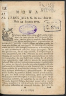 Mowa Ktorą Krol Jmc P.N.M. miał dnia 10. Maja na Seymie 1773.