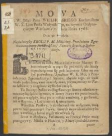 J. W. JMci Pana WIELHORSKIEGO Kuchmistrza W. X. Litt: Posła Wołyńskiego, na Seymie Ordynaryinym Warszawskim miana Roku 1766.