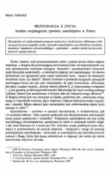 Rezygnacja z życia. Analiza socjologiczna zjawiska samobójstwa w Polsce.