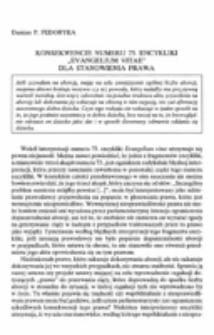 """Konsekwencje numeru 73. Encykliki """"Evangelium vitae"""" dla stanowienia prawa."""