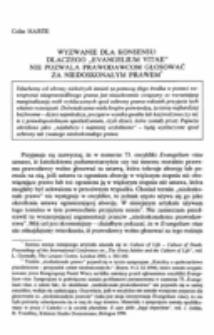 """Wyzwanie dla konsensusu: Dlaczego """"Evangelium vitae"""" nie pozwala prawodawcom glosować za niedoskonałym prawem."""