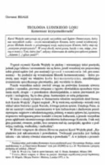 Teologia ludzkiego losu. Komentarz krytycznoliteracki.