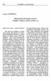 Profesor Ryszard Łużny wobec dzieła Jana Pawła II.