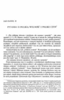 Pytania o polską wolność i polski czyn.
