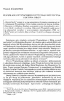 Stanisława Wyspiańskiego etyczna i estetyczna lektura Biblii.