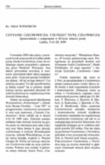 Czytanie Czechowicza : Usłyszeć nutę człowieczą. Sprawozdanie z Sympozjum w 60-lecie śmierci poety. Lublin. 9-10 IX 1999.