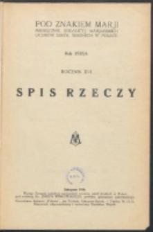 Pod Znakiem Marji. R. 16 (1935/1936). Spis rzeczy