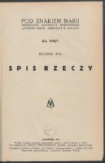 Pod Znakiem Marji. R. 17 (1936/1937). Spis rzeczy