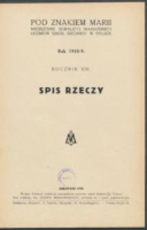 Pod Znakiem Marji. R. 19 (1938/1939). Spis rzeczy