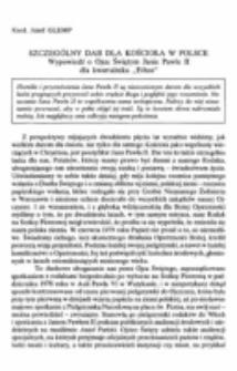 """Szczególny dar dla Kościoła w Polsce. Wypowiedźo Ojcu Świętym Janie Pawle II dla kwartalnika """"Ethos""""."""