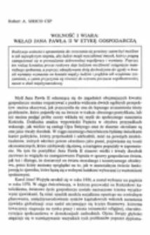 Wolność i wiara: wkład Jana Pawła II w etykę gospodarczą.