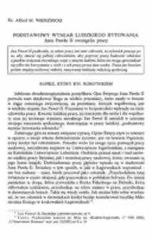 Podstawowy wymiar ludzkiego bytowania. Jana Pawła II ewangelia pracy.