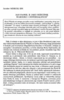Jan Paweł II jako rzecznik wartości uniwersalnych.