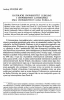 Katolicki Uniwersytet Lubelski i Uniwersytet Laterański. Dwa uniwersytety Jana Pawła II.