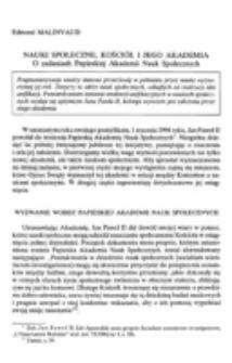 Nauki społeczne, Kościół i jego Akademia. O zadaniach Papieskiej Akademii Nauk Społecznych.