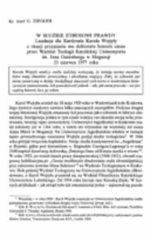 W służbie ethosowi prawdy. Laudacja dla Kardynała Karola Wojtyły z okazji przyznania mu doktoratu honoris causa przez Wydział Teologii Katolickiej Uniwersytetu im. Jana Gutenberga w Moguncji 23 czerwca 1977 roku.